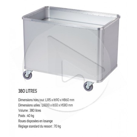 Chariot Alu SCLESSIN D1408/350 4 roul. ˆ fond mobile 25kg