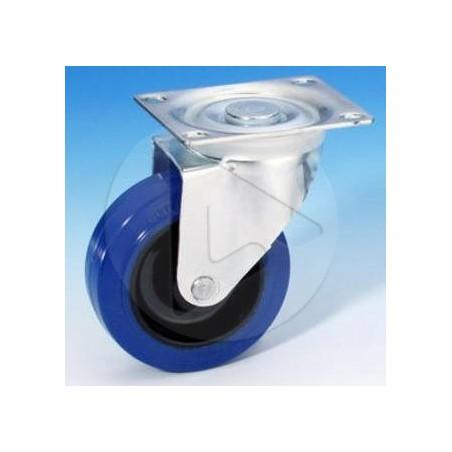 Roulette pivotante Sans Frein - bandage bleu - Zinc - AH_37023 100mm
