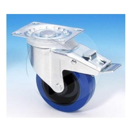 AH_37024 100mm Roulette pivotante-bandage bleu-frein double action - Zinc