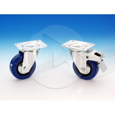 Roulette pivotante 100 mm - zinc - bandage bleu - AH_37151