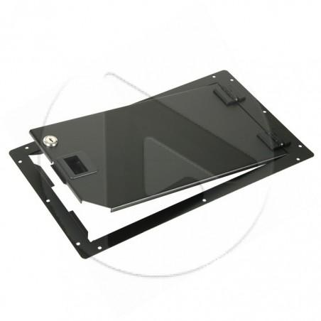 Porte pour rack 19 pouces - Haut 25 cm - loquet en plastique noir - AH_87600